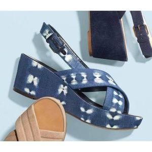 J. Crew indigo tie dye platform sandals